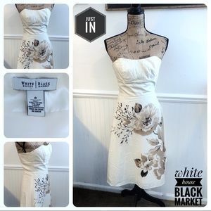 White House Black Market Ivory Silk Floral Dress
